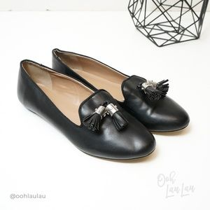 Ann Taylor Black Tassel Loafers